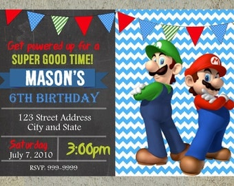 Super Mario Brothers Birthday Invitation Chalkboard Chevron Pattern Super Mario Brothers Invitation