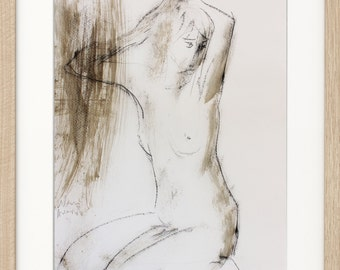 Modern artwork, Giclee art print, Charcoal Sketch, Nude Figurative Drawing, Wall art decor, Graphic art, Fine art, Nude woman, Female Figure