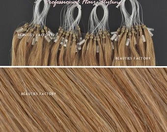 Beauties Factory Handmade Micro Loop Ring Remy Human Hair Extensions Color 6/27 Golden Brown/Butterscotch 20inch