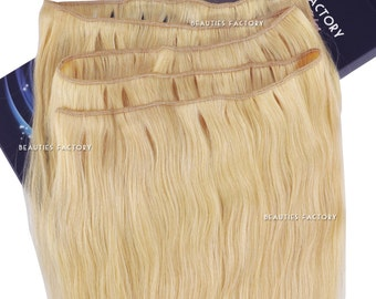 100g Bleach Blonde Beauties Factory Handmade DIY Full Head Remy Human Hair Extension Long Weft (Non Clip-in) 20 inch