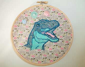 Freehand Dinosaur Embroidery