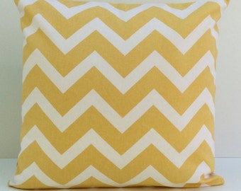 Yellow Ochre and Off White Pillow, Throw Pillow Cover, Decorative Pillow Cover, Cushion Cover, Pillowcase, Accent Pillow, Chevron, Cotton
