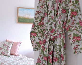 Pink Rose Dressing Gown Hand Block Printed on Organic Cotton