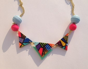 Colorful triangle necklace