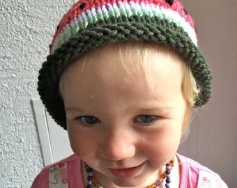 Baby Hat: Knit Watermelon Baby Hat with Seeds