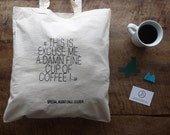In Twin Peaks #12 : Damn fine cup of coffee - Special Agent Dale Cooper - embroidered cotton tote bag - black