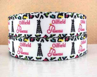 1 inch Oilfield Princess cheetah border Printed Grosgrain Ribbon for Hair Bow