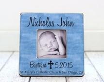 Baptism Gift for BOY Personalized Picture Frame Godchild Godson Goddaughter Baptism Christening Dedication Baby Naming Baby GIFT