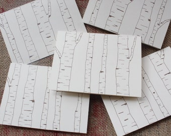 Birch tree forest cards - 5 cards and envelopes - hand drawn greeting cards - hand made cards - Forest cards - Nature stationary
