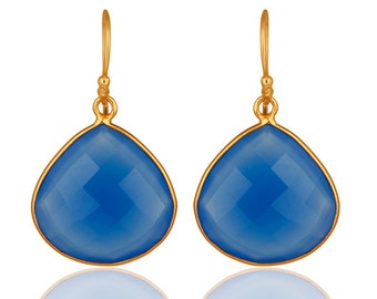 Blue Chalcedony Earring, Gemstone Earrings, 18k Gold Plated Jewelry, Teardrop Earring, Dangle Earrings, Bridesmaid Earring, Wedding Earring