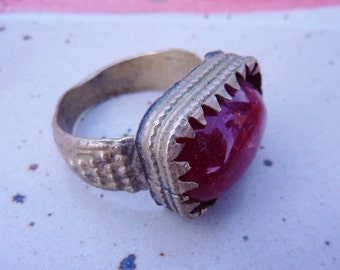 Old oriental Ring with Red Glasstone, US Size 10