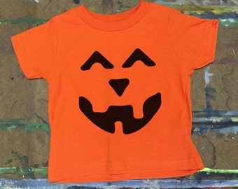 Halloween shirt, toddler halloween shirt, pumpkin face shirt,