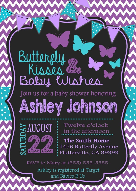 Purple amp Teal Butterfly Baby Shower Invitation by