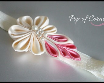 Baby headband - beige and coral - newborn to toddler.