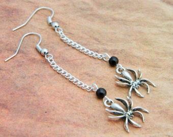 Spider Earrings, Halloween Earrings, Spider Jewellery, Black Widow Cosplay, Dangle Earrings, Spider Costume, Halloween Costume, Spiders