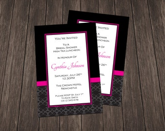 Bridal Shower Invite-Black and Hot Pink Damask