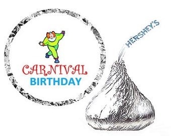 Carnival Birthday Party Favor Hershey's Kisses Stickers / Labels -216ct