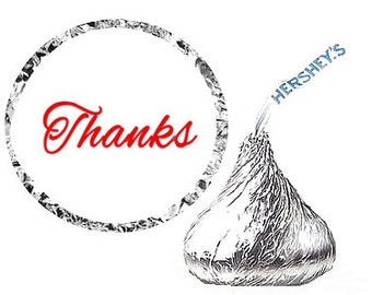 Thanks Party Favor Hershey's Kisses Stickers / Labels -216ct Red