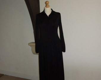 Vintage collared black dress by Marline Paris