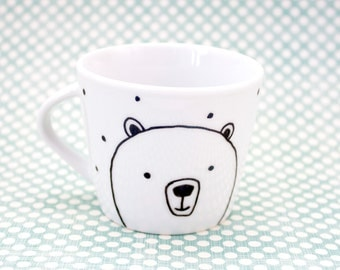 Bears and polka dots - Espresso ceramic cup