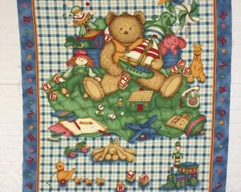 Teddy Bear Panel by Cranston Fabrics- 100% Cotton Quilting Fabric
