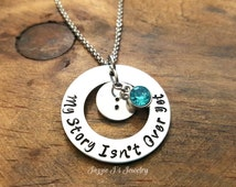 My Story Isn't Over Yet Hand Stamped Necklace, Semicolon Necklace, Suicide Awareness, Suicide Prevention, Awareness Gift, Inspirational Gift