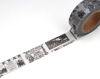 Newspaper Washi tape, Black and White News Deco Card making tape