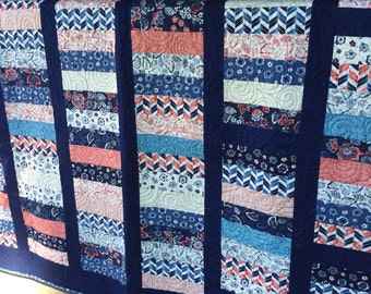 Price reduced! Quilt, man, woman, throw size, navy blue, coral