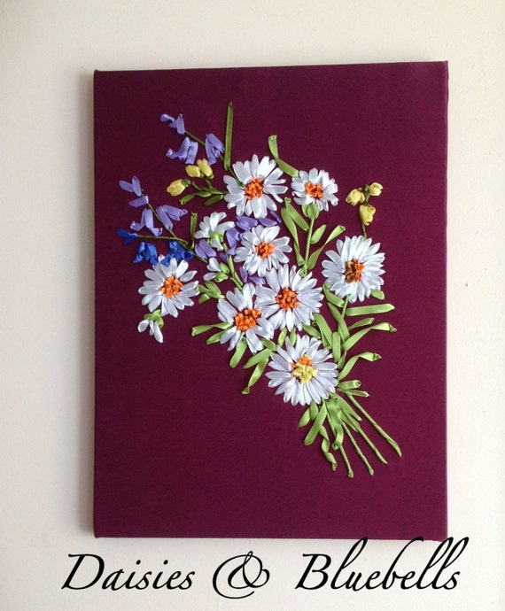Wall Decorations With Ribbon : Items similar to daisies bluebells ribbon embroidery