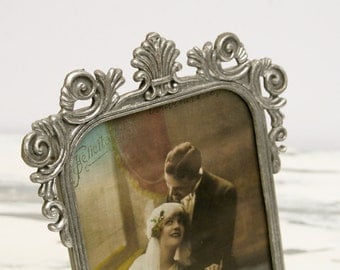 Ornate Silver Vintage Picture Frame. Glitter Rococo Photo Holder, Baroque Victorian Style Photograph. Metal+Glass, Hand Painted Wedding Gift