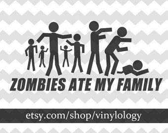 Zombie Stick Family Decal, The Walking Dead Car Decal, Family Vinyl Decal, Stick Figure Family, Car Decals, Laptop Decals, Car Stickers