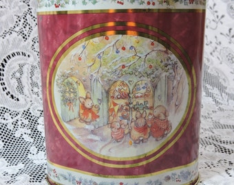 Vintage Christmas Tin with Rabbits and Mice at Toy Store and on Bridge