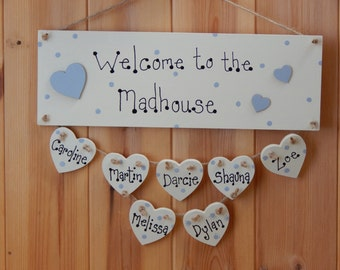 Welcome to the Madhouse, Housewarming gift, Personalised gift, Gifts for families, Personalised new home gift, Personalised family sign