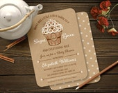 Fall Baby Shower Invitation - What are little girls made of, Sugar and Spice Cupcake, PRINTED 5x7 / Choice of Quality Paper / Free Ship