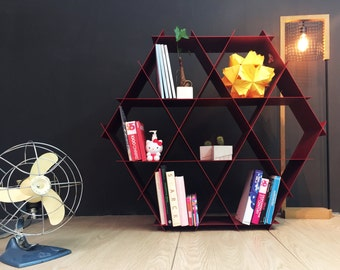 Large Geometric Shelf, DIY Furniture, Metal Shelves, Bookcase, Honeycomb  Shelves , Hexagon