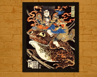 Tenjiku Tokubei Riding a Giant Toadn - Hiroshige Ukiyo-e Vintage Fine Art Print Retro Wall Decor Office decoration Japanese Artt