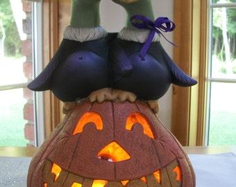 ceramic pumpkin lighted  Mr. and Mrs. Vulture welcome pumpkin