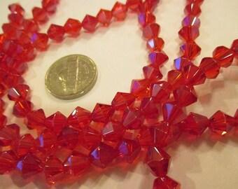 Strand of 40 8mm Red Glass Bicone Beads. (40 pcs. per strand). Item:BC818712
