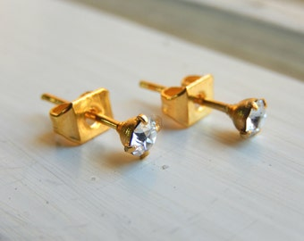 Gold Stud Earrings - Diamond Stud Posts