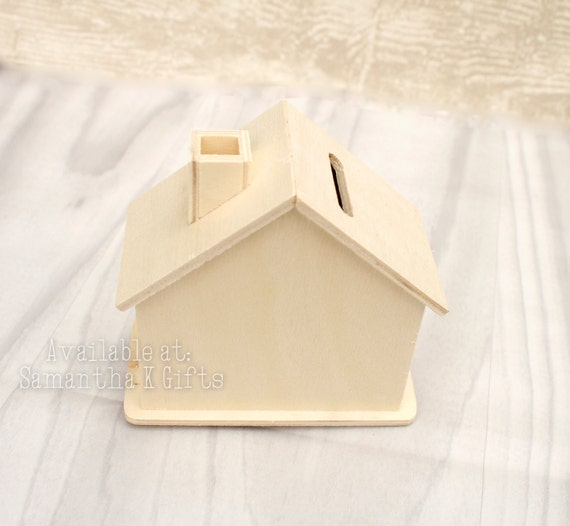Woodware small wooden money box house ready for decorating for How to decorate a money box