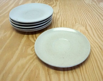 FREE SHIPPING 6 Heath Ceramics plates in Sand Color.