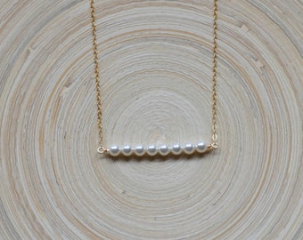 Pearl Bar Necklace, Simple Pearl Necklace, Pearl and Gold Bar Necklace, Pearl Necklace, Straight Pearl Bar Necklace
