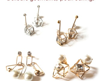 Valentine's Day SALE geometric 3d cutout pearl rhinestone stud dangle earrings