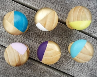 Handpainted Wooden Geometric Drawer Knobs - Set of 6