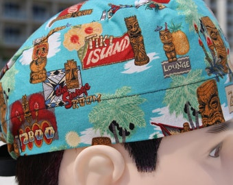 Tiki Island Tropical Scrub Hat for Men with Totem Poles, Palm Trees and Hawaiian Island Theme