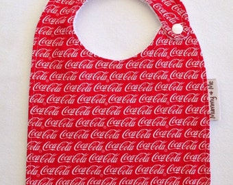 Coca Cola / Beverage / red and white / coke / ribbon / bandana bib / funky bib / toddler bib / large bib / baby bib / newborn / infant bib