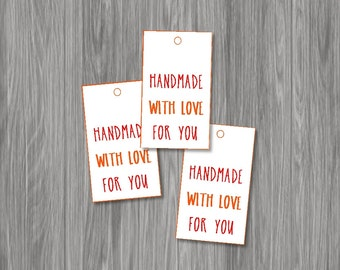 Printable Red And Orange Handmade With Love Tags for gifts -- Instant Digital Download