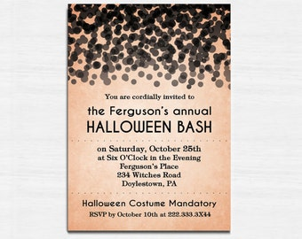 Halloween Invitation, Elegant Halloween Invitation, Printable Halloween Invitation, Black and white, black confetti, Halloween Bash Invite