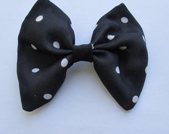 Polka Dot Hair Bow,Navy Blue Hair Bow,Hair Accessories,French Barrette, Barrettes And Clips, Hair Care,Girls Hair Bow,Adults Hair Bow,Hair