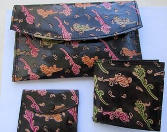 3 Piece Leather Set,Genuine Leather,Change Purse Set,Bi-Fold Wallet,Compartment Clutch,Leather Wallet,Leather Purse,Small Leather Bag,Purses